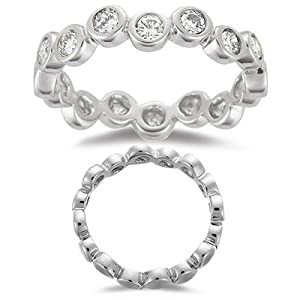 0.56 Cts Diamond Stack Band in 14K White Gold-6.5
