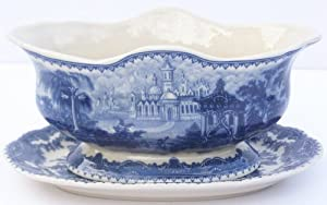 Blue French Toile Gravy Boat with Liner Tray