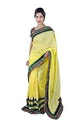 Aradhya Women's Embroidered border Cotton Silk Saree (Yellow_ara005)