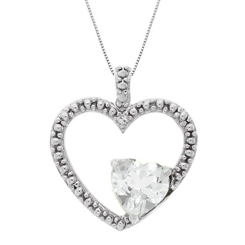 White Topaz and Diamond Double Heart Pendant