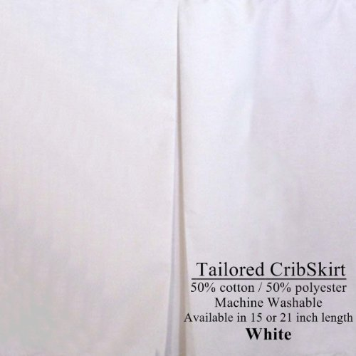White Tailored Crib Dust Ruffle Cotton/Polyester blend 15 inches long
