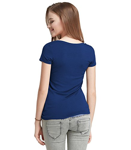 FASHION-LINE-Womens-Navy-Blue-Short-Sleeve-T-Shirt