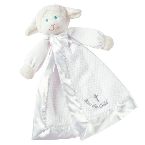 "Lamb Christening Security Blanket Plush Baby Bless Child Gift Mary Meyer 14"" front-973245"