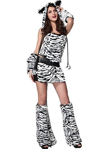 DarlingLove Women's Cyber Monday Day Tiger Velvet Hooded Dress Costume