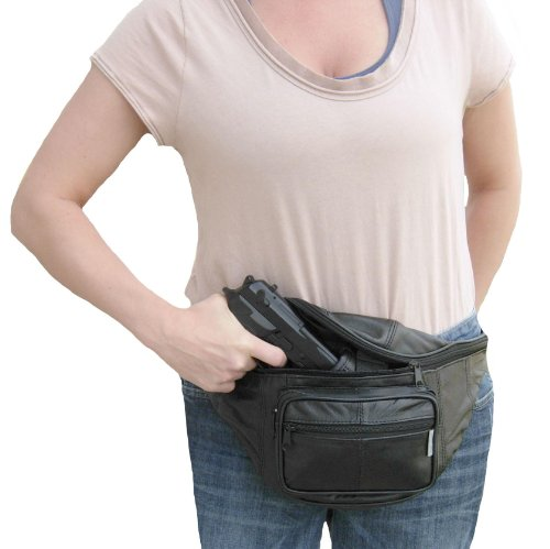 Leather Concealed Carry Fanny Pack - Gun Conceal Purse / Bag fits up to 48inch Waist - For Men & Women by Fashion's Little Helpers