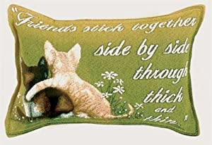 Side by Side Cat Friends Decorative Tapestry Toss Pillow