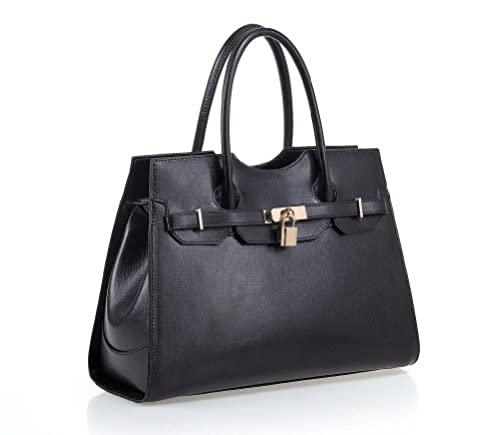 08. Fineplus Women's New Fashion Genuine Leather Shoulder Strap Tote Bag