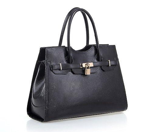 08. Fineplus Women's New Fashion Genuine Leather Shoulder Strap Tote Bag