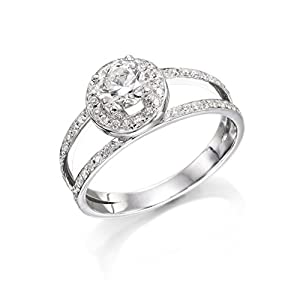 Certified, Round Cut, Solitaire Diamond Ring in 14K Gold / White (1/2 ct, H Color, I1 Clarity)