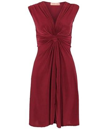 KRISP Women's Ruched Drape Twist Knot Mini Dress(6,Berry)