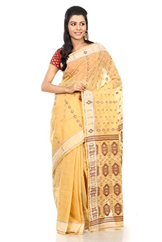 Weaves B3fashion Traditional Fulia Bengal Tant Handloom Saree With Elegant Geometrical Weaves With Elegant Heavy Weaved Pallu And Border (Beige\/Sand\/Tan)