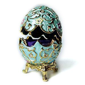 24k Gold-Plated, Enamel Swarovski Crystal Faberge-Style Egg Jewel Box (3 inches x 2 inches) (Boxed)