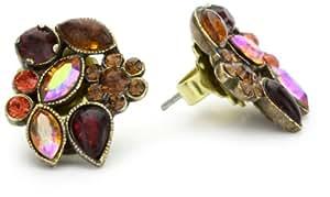 "Sorrelli ""Maple Syrup"" Crystal Floral Stud Goldtone Earrings"