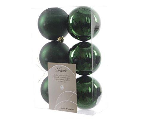 6-Weihnachtskugeln-Christbaumkugeln-Kugeln-Baumkugeln-Grn-bruchfest-80mm