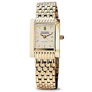 Stanford University Ladies Swiss Watch - Gold Quad Watch with Bracelet by M.LaHart & Co.