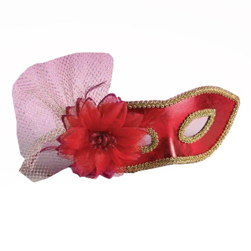 Forum Mardi Gras Costume Masquerade Venetian Half Mask With Netting and Flower, Red, One Size - 1