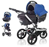 Jane Trider Extreme + Transporter Auto Carrycot + Strata Car Seat - Azzure Blue