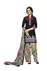 Shopeezo Black Colored Pure Cotton Cambric Embroidered Dress Material