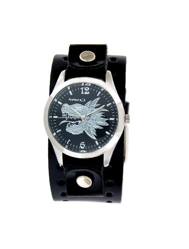 Nemesis Serpent Dragon Black Leather Cuff Watch