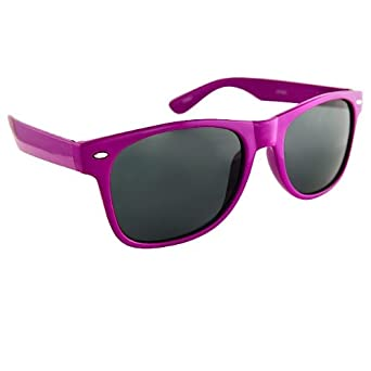 Vintage Wayfarer Style Sunglasses Dark Lenses Purple Frame
