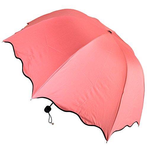 【C-RAYS】 雨 が 待ち遠しくなる かわいい 花柄 模様 が 浮き出る 折りたたみ 傘 日傘 雨傘 兼用 UV カット (朱色)