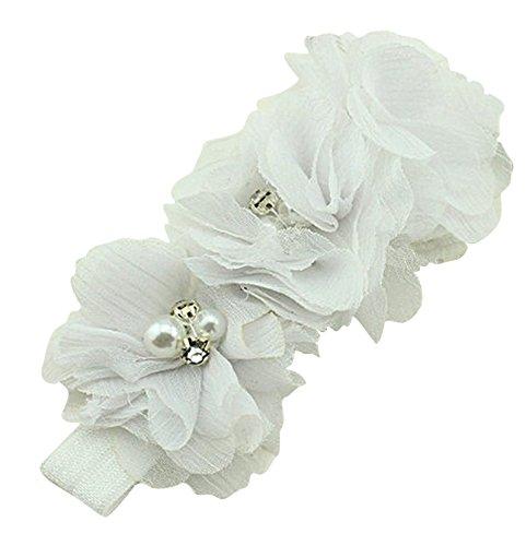 PinkXenia White Chiffon Flower Pearl Embellished NewBorn BabyGirl Soft Elastic Headband
