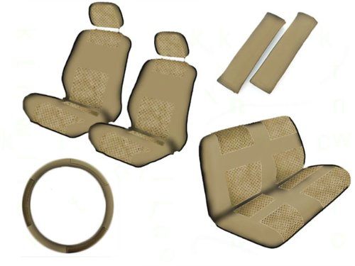 A Set of 11 Piece Universal Fit Perforated Leatherette Racing Sport Seat Covers for Low Back Bucket Seat and Standard Bench Seat - All Tan