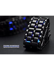 Black Samurai Steel Blue LED Digital Watch Cum Bracelet For Men & Women