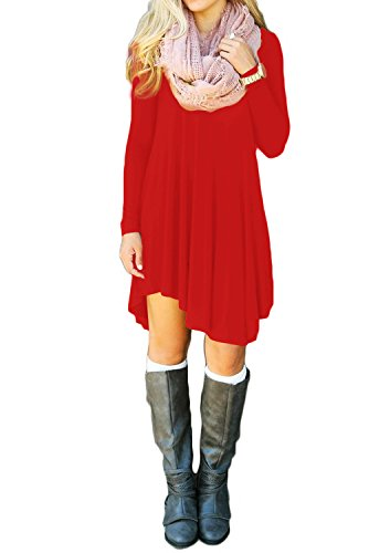 Sleeve Wine Shirt Sleeve Womens Long(Red,Xlarge)