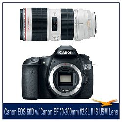 Canon EOS 60D 18 MP CMOS Digital SLR Camera with 3.0-Inch LCD with Canon EF 70-200mm f/2.8L II IS USM Telephoto Zoom Lens