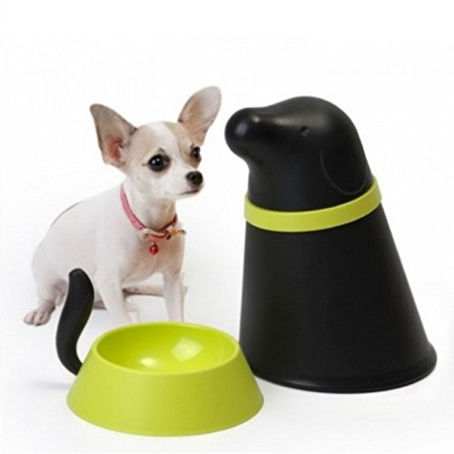 Small Dog Bowl with Storage Pupp Pet Food Bowl by Qualy Design Studio. Black Color. Puppy Bowl - Great Gift Idea for Dog Owners. Cute and Practical Dog Bowl.