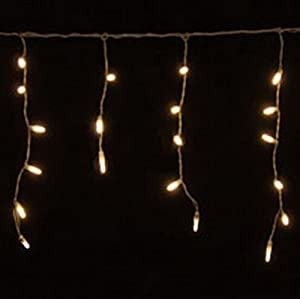 70 Warm White LED Icicle Lights, White Wire