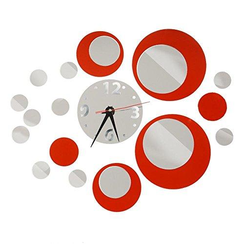 """CasaNet Orologio da Parete Splendido con I Numeri Murales Adesivi """"Tono 3D Effetto Specchio Rotondi del Cerchio Rosso Argento"""" Decorazione Murali da Parete Rimovibile, FAI DA TE!"""
