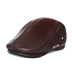 LETHMIK Flat Cap Cabby Hat Genuine Leather Vintage Newsboy Cap Ivy Driving Cap XXL-Brown