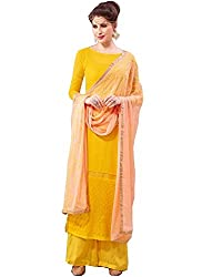 APRAH FASHIONS Women's Faux Georgette Unstithed Dress Material (AFV-Florida-1003_Yellow_Freesize)