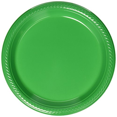 Amscan Big Party Pack 50 Count Plastic Dessert Plates, 7-Inch, Green