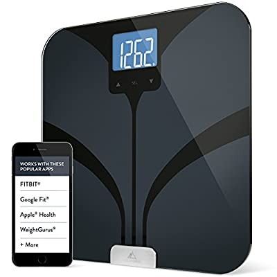Weight Gurus Bluetooth Smart Connected Body Fat Scale with Large Backlit LCD, by Greater Goods