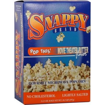 12/3 Pack Snappy Movie Theater Popcorn-Microwave [36 Pieces] *** Product Description: Packaged 12 Per Box 3 Boxes Per Case For A Total Of 36 Popcorn Bags. 12/3 Packs Per Case - Snappy Movie Theater Microwave Popcorn Buttery Movie Theater Flavor A ***