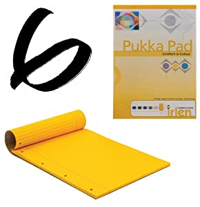 6x Gold Pukka Pad A4 80gsm Ruled With Margin 100 Pages 50 Sheets
