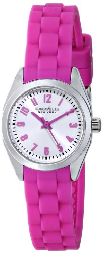 Caravelle by Bulova Women's Pink Rubber Band Steel Case Quartz Silver-Tone Dial Analog Watch 43L175