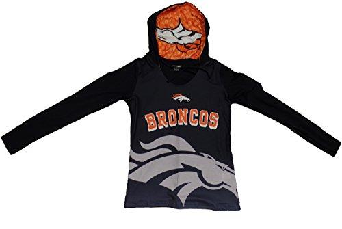 Denver Broncos Womens Navy Cameo Hooded Long Sleeve T-shirt