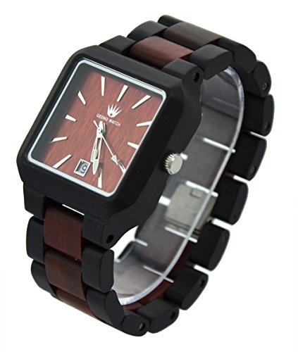 Topwell� Black and Brown Adjustable Square Wood Wooden Wristwatches with Date Calendar Function