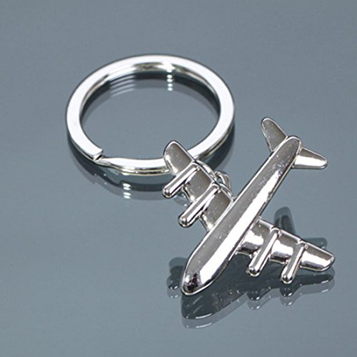 1Pcs Marvelous Popular Air Plane Keychain Purse Bag Key Keyfob Amazing 3D Color Silver