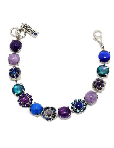 Rhodium Plated Bracelet from 'Rainy Skies' Collection Created by Amaro Jewelry Studio with Amethyst, Sodalite, Lapis Lazuli, Lavender, Blue Agate, Purple Jade, Blue Abalone, Blue Cat's Eye and Swarovski Crystal Flowers
