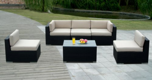 Genuine Ohana Outdoor Patio Wicker Furniture 6pc Deep Seating Couch Set