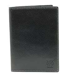 CAPPIANO Black Leather Passport Holder & Credit Card Wallet
