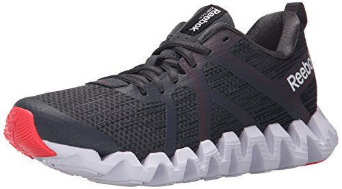 Reebok Women's Zigtech Squared 2.0 Running Shoe, Gravel/Graphite/Neon Cherry/White, 8 M US (Zigtech Shoes compare prices)