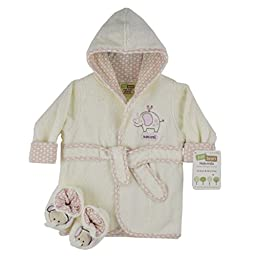 Just Born Just Bath Organic Robe and Booties Set, Pink/White