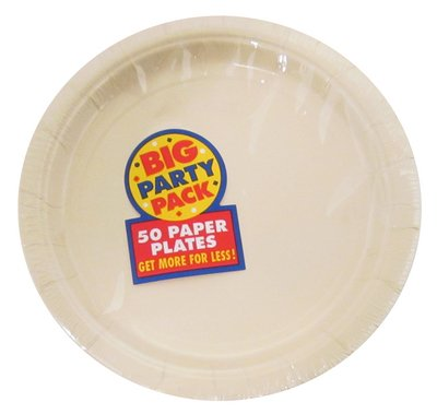 Amscan Big Party Pack 50 Count Paper Dessert Plates, 7-Inch, Vanilla Crème