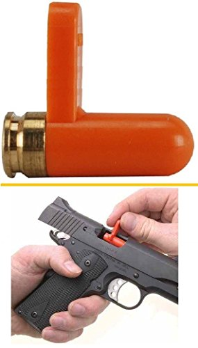 Ultimate Arms Gear Long Tab 9mm Pistol Handgun Rifle Empty Chamber Ejectable Long Safety Flag Load Indicator Device Polymer & Brass Bottom Orange Dummy Ammunition Ammo Shell Round with Lanyard String Loop Hole to Attach (Chamber Plug compare prices)